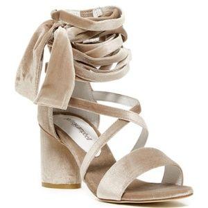 NEW Jeffrey Campbell Faustino Velvet Beige Sandal